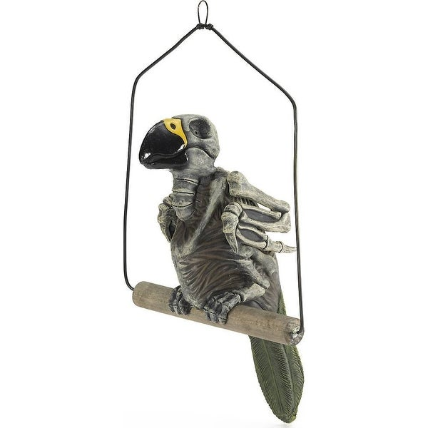Haunted Skeleton Parrot on Perch Halloween Prop