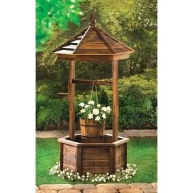 Shop Zingz Thingz 57070006 Rustic Wishing Well Natural Wood Garden