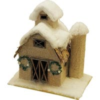 """12"""" Snow Covered Barn with Wreaths Christmas Tabletop Decoration - brown"""