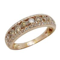 Prism Jewel 1.30Ct Brown Color Diamond with Natural Diamond Wedding Band, Rose Gold - White G-H