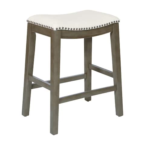 """OS Home and Office Furniture Model MET4224AG-L32 Saddle Stool 24"""" in Beige Fabric and Antique Grey Base and Linen Fabric 2-Pack"""