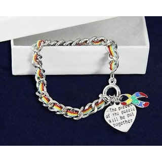 Autism Awareness Ribbon Bracelet-Multi-Colored Rope