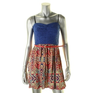 City Triangles Womens Juniors Casual Dress Lace Printed - 9