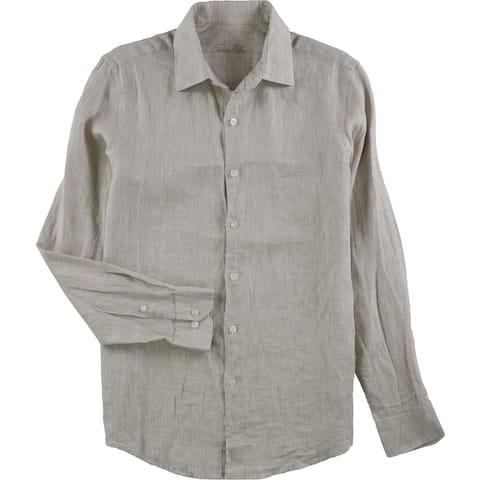 Tasso Elba Mens Cross-Dyed Linen Button Up Shirt