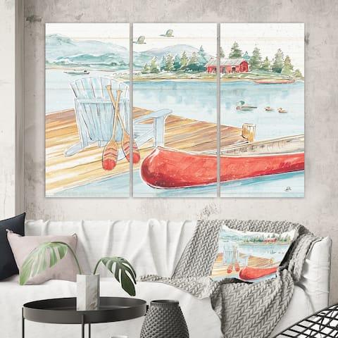 Designart 'Lake House Canoes III' Lake House Canvas Wall Art
