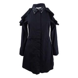 The Edit by Seventeen Juniors' Cold-Shoulder Shirtdress - Black