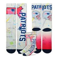 New England Patriots Roadmap Sublimated Socks, Large (10-13)
