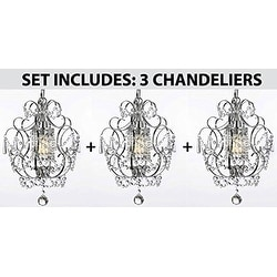 "SET OF 3 - Chrome Crystal Chandelier Lighting H15"" x W11.5"""