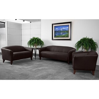 Radisson 3pcs Office Leather Sofa Sets, Brown, Wood Ft