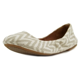 Lucky Brand Emmie Women Round Toe Canvas Tan Ballet Flats