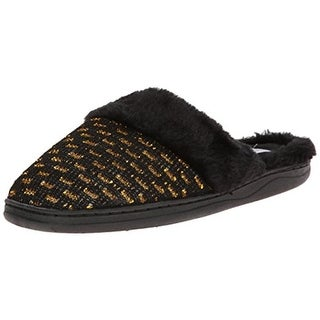 Gold Toe Womens Metallic Faux Fur Mule Slippers