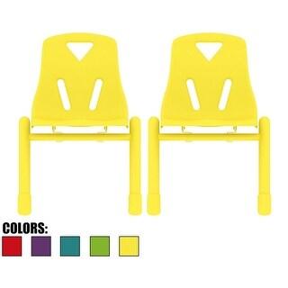 2xhome Set of 2 Colors Kids Chair Stackable Plastic Molded For School Preschool Student Activity Outdoor Bedroom Desk
