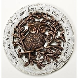 "12"" Decorative Round Bronze and Gray Wise Owl Garden Patio Stepping Stone"
