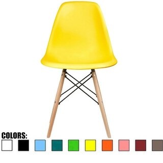 2xhome Yellow - Eames Style Molded Bedroom & Dining Room Side Ray Chair with Natural Wood Eiffel Legs Base