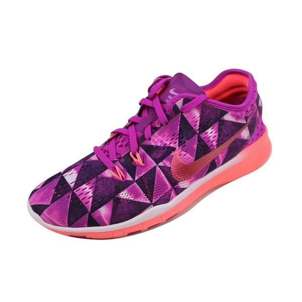 Nike Women's Free 5.0 TR FIT 5 PRT Fuchsia Flash/Hot Lava-Fuchsia Glow-White 704695-501 Size 6.5