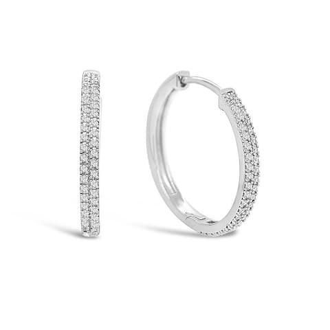 925 Sterling Silver 1/4 Carat Diamond Huggie Hoop Earrings for Women