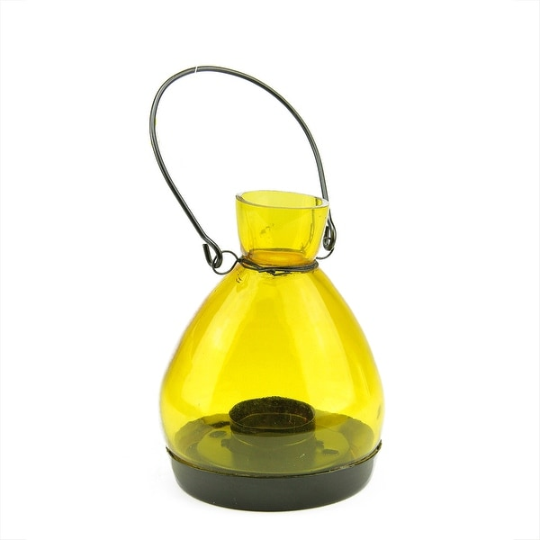 "5"" Transparent Yellow Glass Tapered Bottle Tea Light Candle Lantern Decoration"