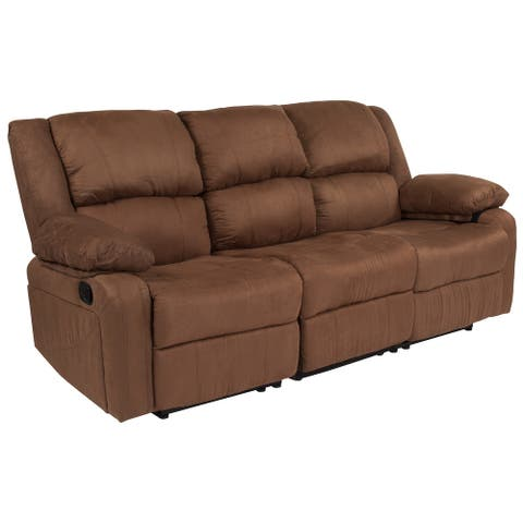 LeatherSoft Sofa with Two Built-In Recliners