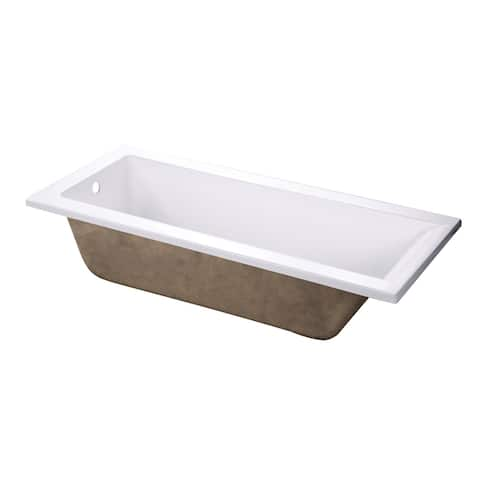 """Kingston Brass XVTPN672817 67"""" Drop In Acrylic Soaking Tub with - White"""