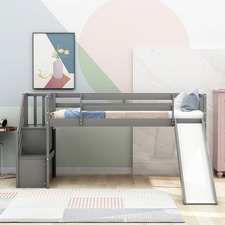 Link to Twin Size Low Loft Bed with Adjustable Slide and Staircase, Gray Similar Items in Kids' & Toddler Furniture