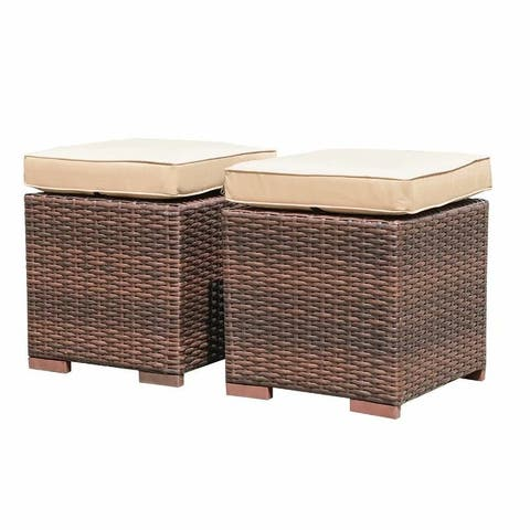 Set of 2 Outdoor Patio Rattan Ottomans Cushioned Seat Wicker Stools