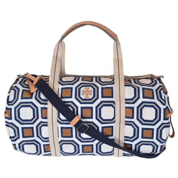 b6e4e016cb3 Tory Burch Women  x27 s Octagon Print Large Nylon Travel Duffel Purse Bag