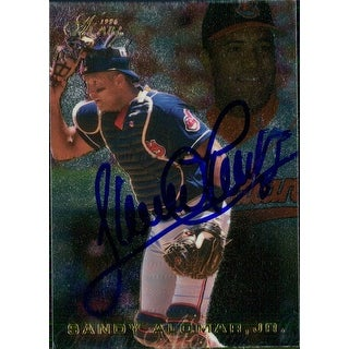 Signed Alomar Sandy Jr Cleveland Indians 1996 Flair Baseball Card autographed