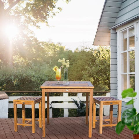 """Chic Teak 3 Piece Teak Wood Seville Medium Counter Height Patio Bistro Dining Set, 2 Counters Stools and 35"""" Square Table"""
