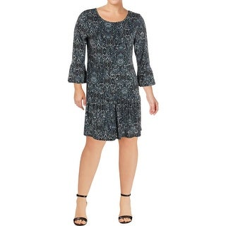 Connected Apparel Womens Casual Dress Printed Bell Sleeve