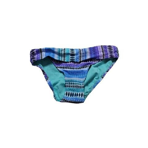Bleu By Rod Beattie Blue Multi Printed Shirred Hipster Bikini Bottom 4