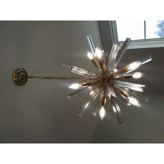 Lorena Champaign Gold 9-Light Clear Glass Bar Sputnik Chandelier