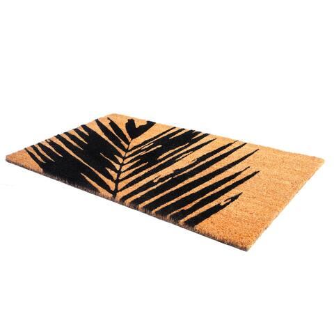 Summertime Palm Leaf Doormat Natural Rubber, Non-Slip, Durable