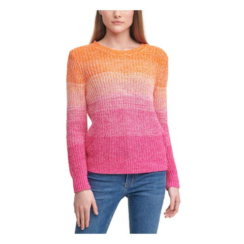 CALVIN KLEIN Womens Pink Ombre Crew Neck Sweater Size S