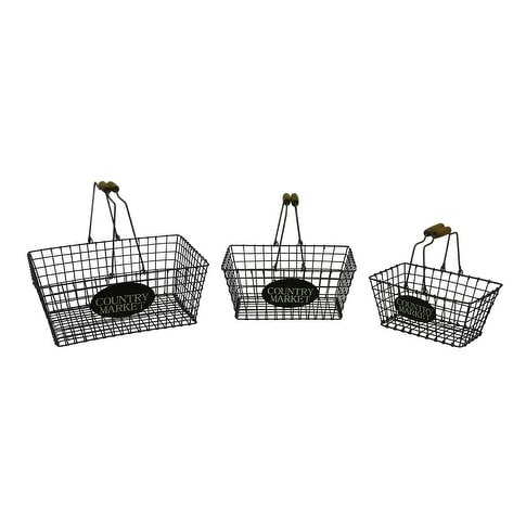 3 Piece Country Market Wood Handle Metal Wire Basket Set