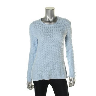 Karen Scott Womens Cable Knit Long Sleeves Pullover Sweater