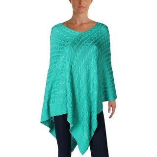 Lauren Ralph Lauren Womens Poncho Sweater Cable Knit Ribbed - o/s