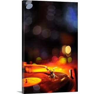 Premium Thick-Wrap Canvas entitled Turntable detail at nightclub Redrum in Helsinki, Finland. (4 options available)
