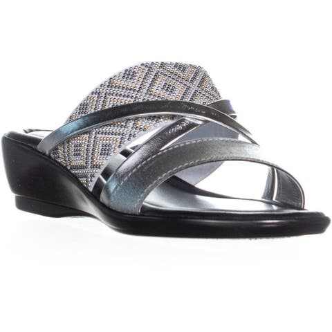 Easy Street Palazzo Slip On Strappy Sandals, Silver
