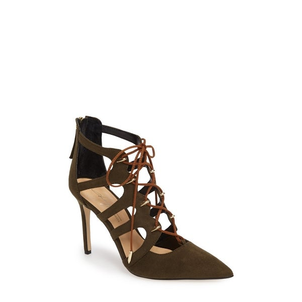 Daya by Zendaya Womens minnie Fabric Pointed Toe Ankle Strap Classic Pumps - 9