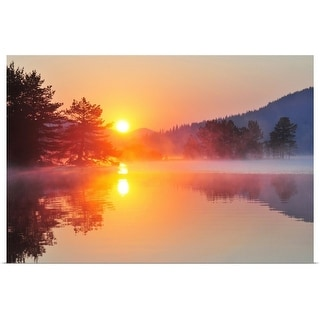 """Sunrise at mountain lake"" Poster Print"