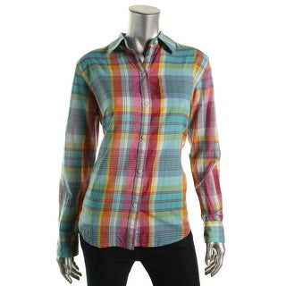 American Living Womens Cotton Plaid Button-Down Top - S