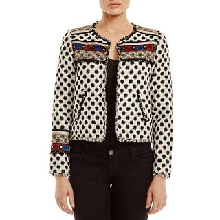 Twelfth St By Cynthia Vincent Womens Cropped Jacket Embroidered Metallic