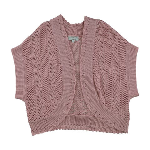 Signature by Robbie Bee Womens Lace Knit Shrug Sweater, Pink, 18W