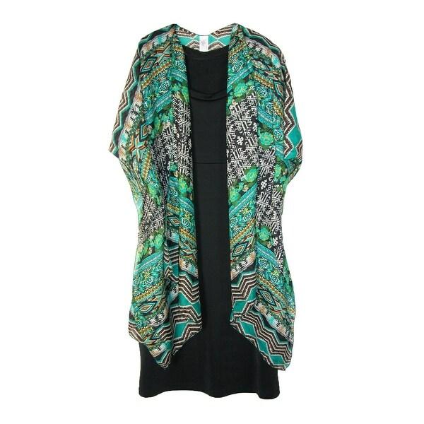 CTM® Women's Lightweight Tribal Print Open Style Kimono Shawl - One size