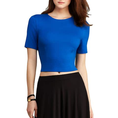 Three Dots Womens Blouse Short Sleeves Cropped - M