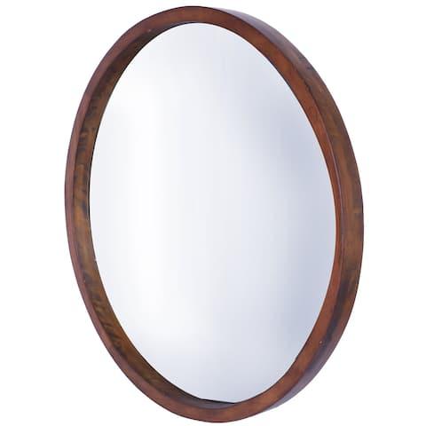 "22"" DIA Walnut Brown Round MDF Wall Mirror Modern Large Circle Decor"