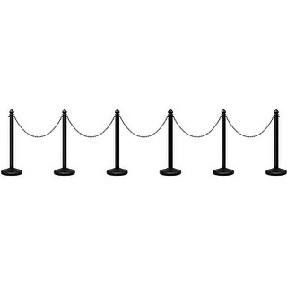 Costway 6Pcs Set Plastic Stanchion 39.5'' Chain C-Hooks Fillable Base Crowd Control - Black