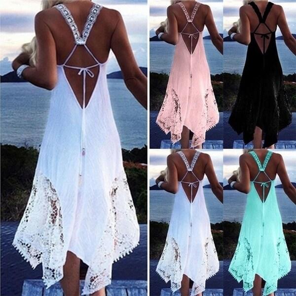 466e1a82f6746 Shop V Neck Backless Irregular Swing Beachwear Dress - On Sale ...