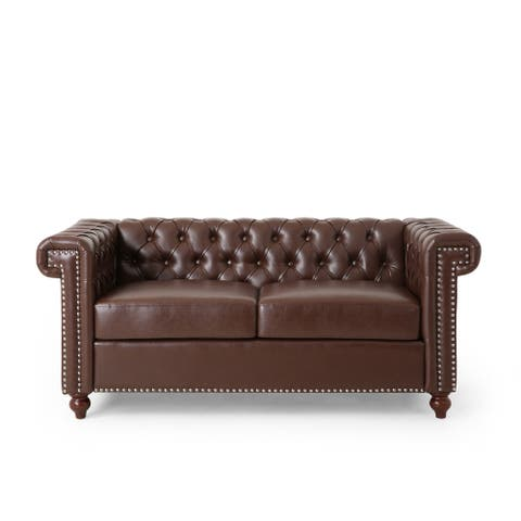 Brinkhaven Contemporary Button Tufted Loveseat with Nailhead Trim by Christopher Knight Home