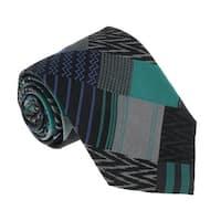 Missoni U5329 Silver/Green Graphic 100% Silk Tie - 60-3